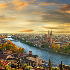 beautiful romantic Verona on sunset. Italy