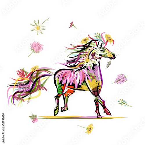 Horse sketch with floral decoration for your design. Symbol of - 56792456