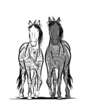 Couple of horses with floral ornament for your design. Symbol of