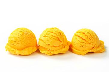 Scoops of yellow ice cream