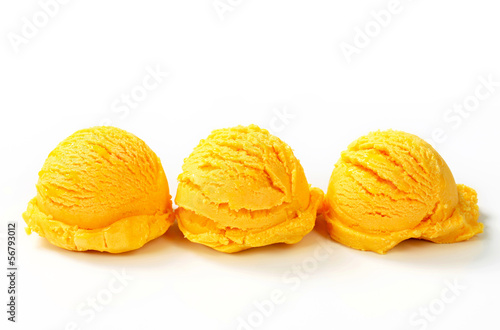 Scoops of yellow ice cream