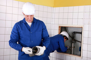Plumbing team at work