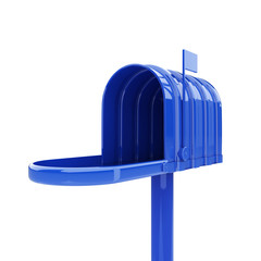 Opened blue mailbox