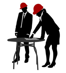 young engineers working silhouettes - vector