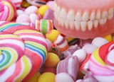 Candy and denture - Cavity problem concept