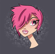 Portrait of a short haired girl, vector illustration