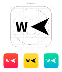 West direction compass icon.