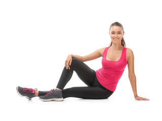 Smiling beautiful woman doing exercise
