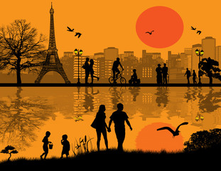 Paris cityscape background