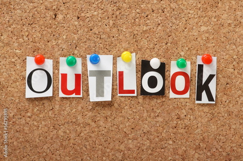 The word Outlook on a cork notice board