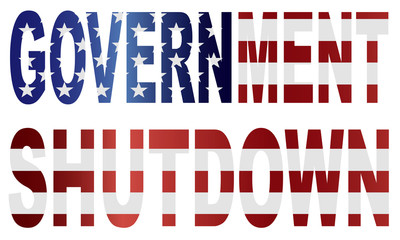 Government Shutdown US Flag Illustration