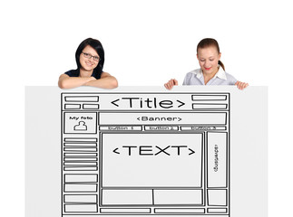 two woman and template website