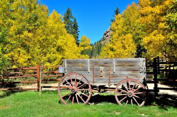 Old Western Wagon in the Fall
