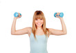 Attractive young girl with dumbbells
