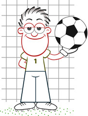 Cartoon Goalkeeper Holding Ball