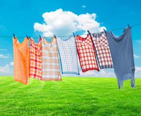 Laundry hanging over vivid landscape