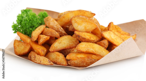 Home potatoes on tracing paper isolated on white