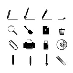 document icons set, business information