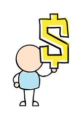Man Holding Dollar Symbol