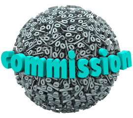 Commission Percent Sign Ball Earning Bonus Pay Rate