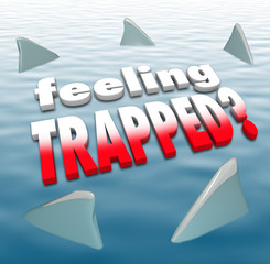 Feeling Trapped Words Shark Fins Circling Ocean
