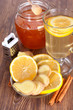 Hot ginger lemon tea, honey and cinnamon