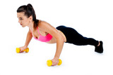 attractive woman working on push ups isolated