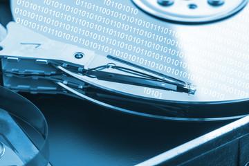 Hard disk drive - concept. Blue toned image.