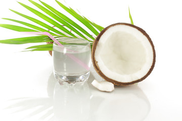 coconut water white coconut and leaves