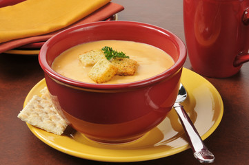 Lobster bisque with croutons