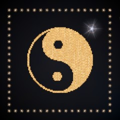 Illustration of a glowing ying yang symbol glittering golden