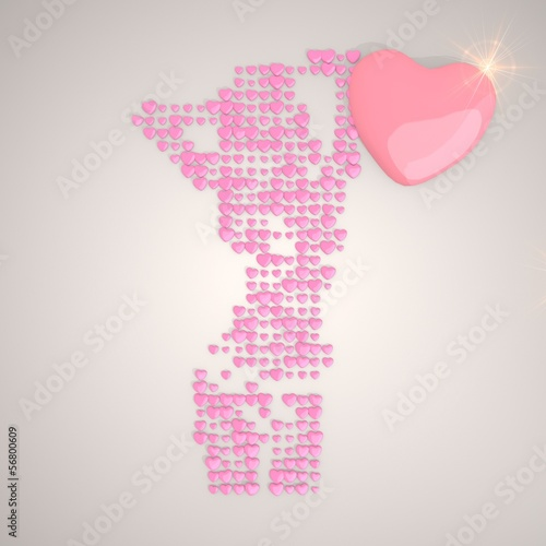 3d graphic of a tender sexy woman symbol made of many hearts