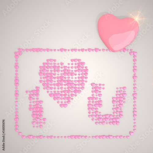 Illustration of a soft I love you symbol made of many hearts