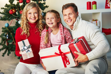 Family with gifts