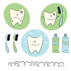 Icons,  baby illustrations on the theme of dental care