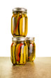 Homemade pickles in mason jars