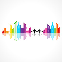 Illustration of abstract colorful building design with bridge