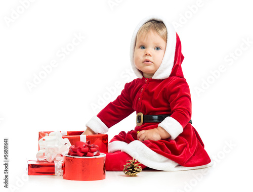 christmas baby girl with gift box isolated on white