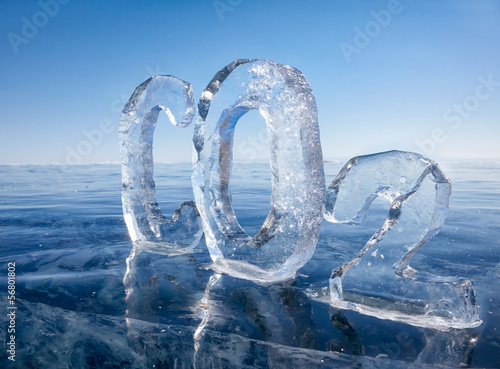 Icy chemical formula of carbon dioxide CO2 - 56801802