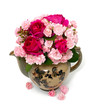 beautiful garden roses in a tea pot