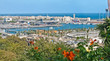Panoramic view of the Barcelona harbor from Montjuic