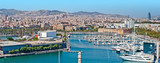 Panoramic view of the Barcelona harbor
