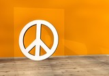 Illustration of a harmful peace icon on an orange wall poster