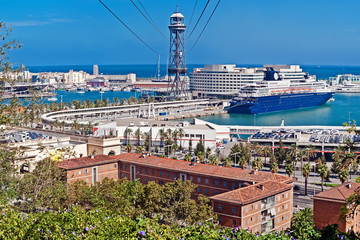 View of the Barcelona harbor and cableway from Montjuic