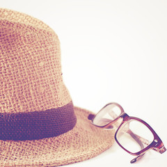 Summer straw hat with glasses with retro filter