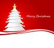 Weihnachtsbaum mit Schneeflocken rot