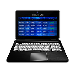 laptop with  exchange rates screen isolated over white