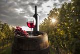 still life with red wine on vineyard - Fine Art prints
