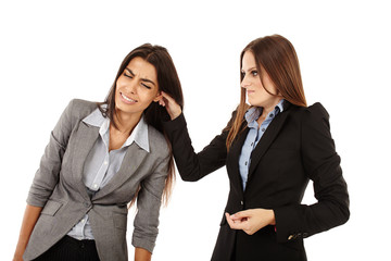 Businesswoman pulling colleague's ear
