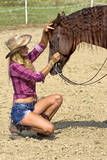 Caressing the horse